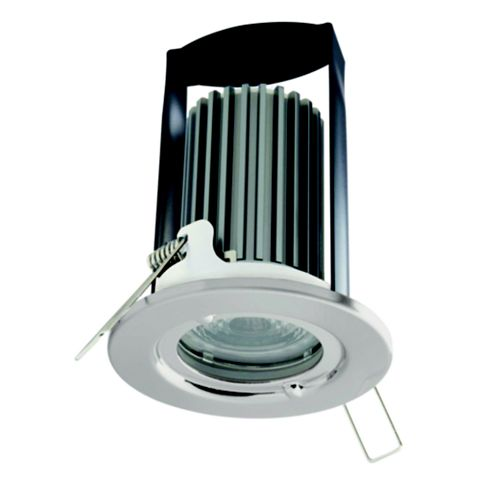 British General Fire Rated Brushed Stainless Steel LED Fixed Fire Rated Downlight 7 W