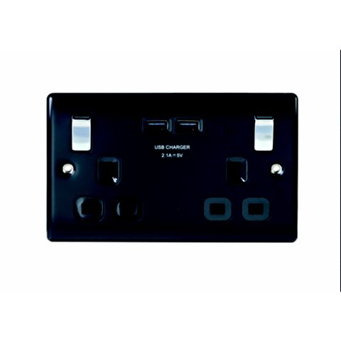 13A 2-Gang Black Matt Switched Socket with USB