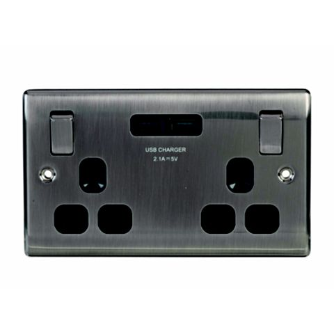 13A 2-Gang Brushed Iridium Effect Switched Socket with USB