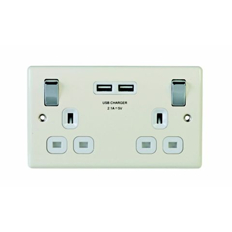 13A 2-Gang Cream Polished Switched Socket with USB