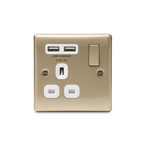 British General 13A 1-Gang Pearl Polished Nickel Effect Switched Socket