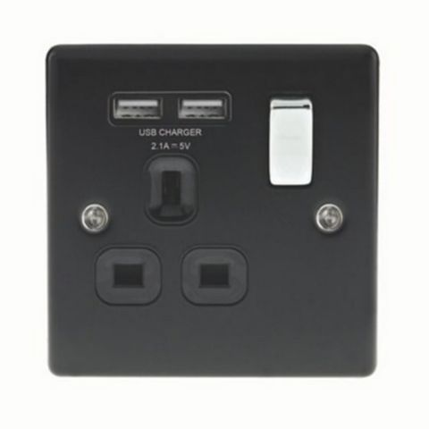 13A 1-Gang Black Matt Switched Socket with USB