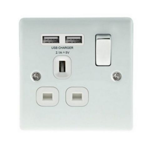 British General 13A 1-Gang White Gloss Switched Socket