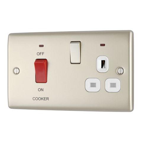 British General 2-Gang 45A Cooker Switch & Socket