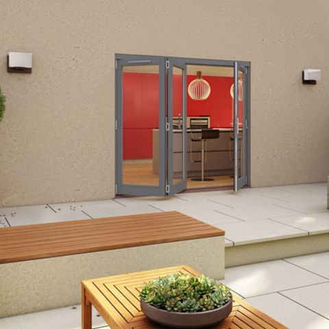 Grey Timber Glazed Sliding Folding Patio Door, (H)2094mm (W)2094mm