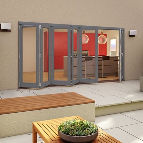 Grey Timber Glazed Sliding Folding Patio Door, (H)2094mm (W)4194mm