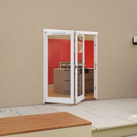 White Timber Glazed Sliding Folding Patio Door, (H)2094mm (W)1794mm