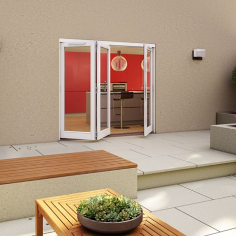White Timber Glazed Sliding Folding Patio Door, (H)2094mm (W)2094mm