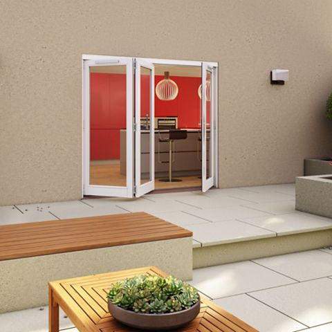 White Timber Glazed Sliding Folding Patio Door, (H)2094mm (W)2394mm