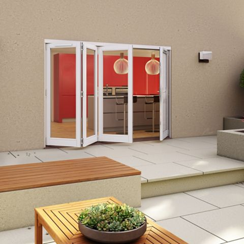 White Timber Glazed Sliding Folding Patio Door, (H)2094mm (W)2994mm