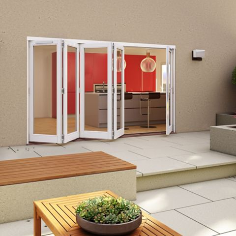 White Timber Glazed Sliding Folding Patio Door, (H)2094mm (W)3594mm