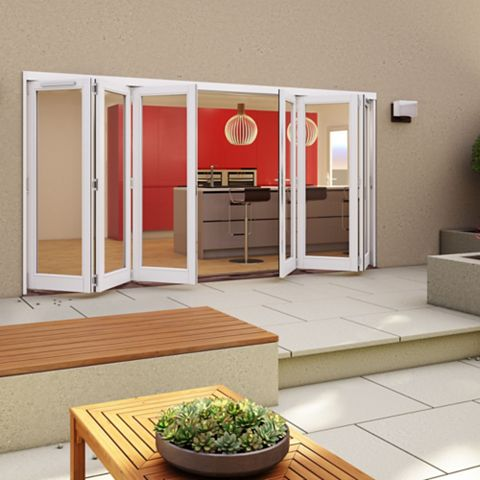 White Timber Glazed Sliding Folding Patio Door, (H)2094mm (W)4194mm