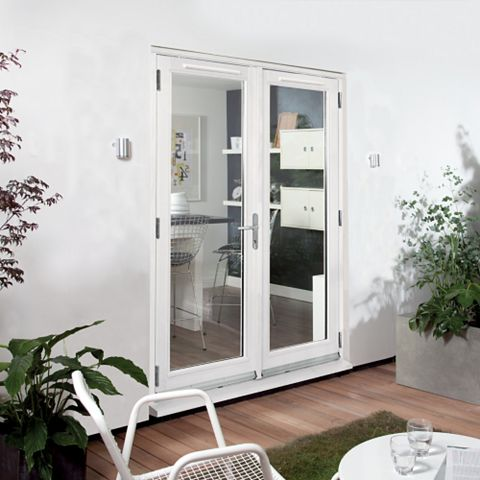 Clear Glazed White Fully Finished Timber External French Door Set, (H)2094mm (W)1194mm
