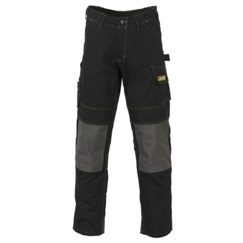 JCB Cheadle Pro Black Work Trousers W34