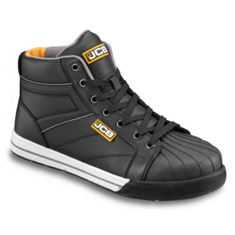JCB Black Soft Action Leather Steel Toe Cap Skid Skater Boots, Size 10