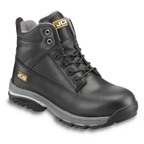 JCB Black Full Grain Leather Steel Toe Cap Workmax Boots, Size 9
