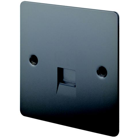 Lap 1 G Gang Flat Plate Black Nickel Telephone & Coaxial Socket