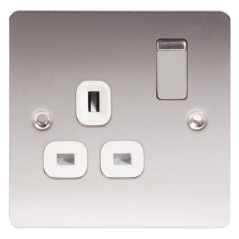 Lap 13A 1-Gang Stainless Steel Unswitched Socket