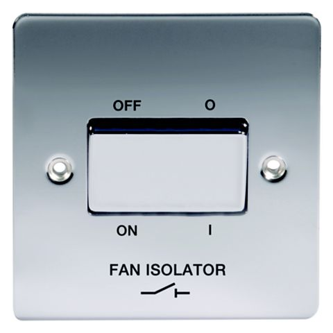 Lap 1-Gang 10A Chrome Effect Fan Isolator Switch