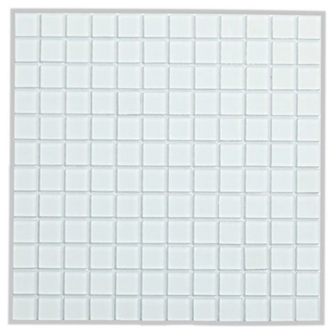 Frosted Glass White Glass Mosaic Tile, (L)300mm (W)300mm