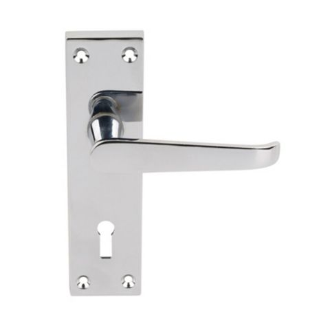 Long Back Straight Polished Chrome Effect Interior Lock Handle,  Pack of 2