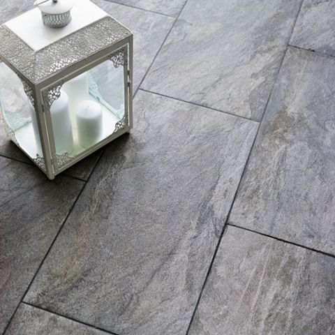 Indus Dark Grey Stone Effect Porcelain Wall & Floor Tile, Pack of 6, (L)600mm (W)300mm