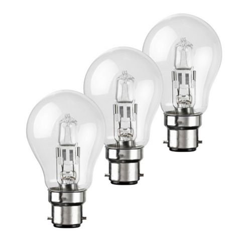 Diall Bayonet Cap (B22) 42W Halogen GLS Light Bulb, Pack of 3