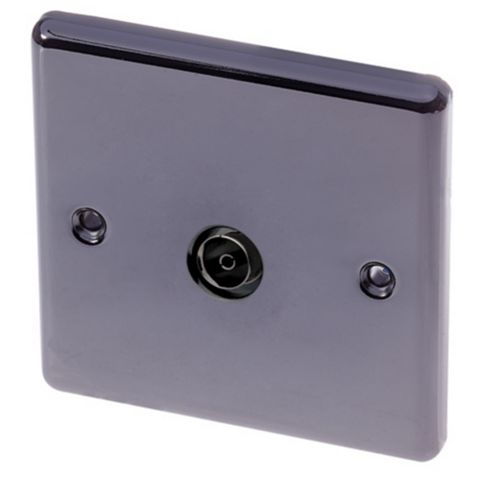 Lap 1G Black Nickel TV Coxial Socket