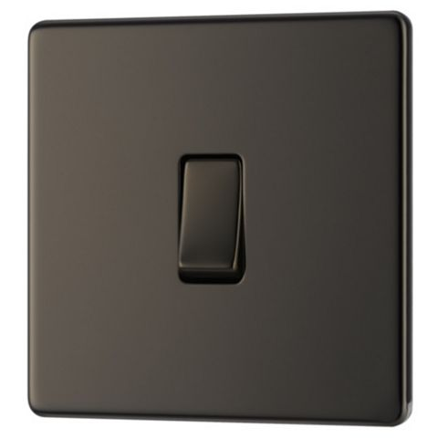Colours 10AX Single Nickel Effect Single Light Switch