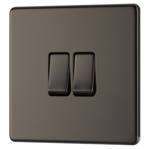 Colours 10AX 2-Way Double Black Nickel Effect Double Light Switch