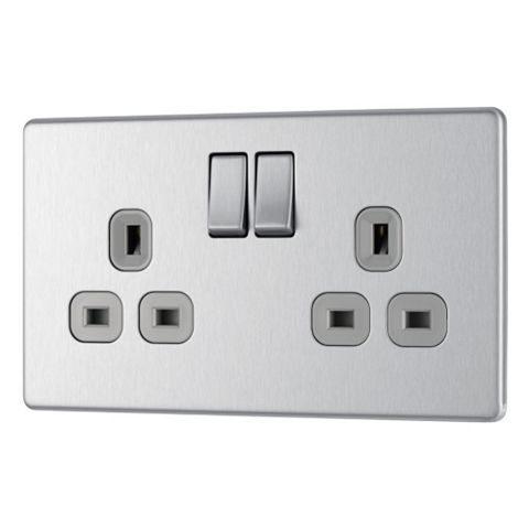Colours 13A 2-Gang Brushed Steel Effect Switched Socket