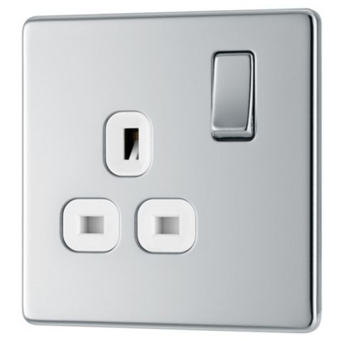 Colours 13A 1-Gang Chrome Effect Switched Socket