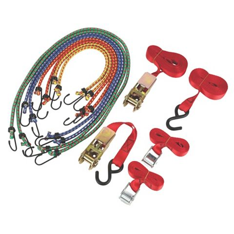 Ratchet Cambuckle Tie-Down & Bungee Set, Set of 1