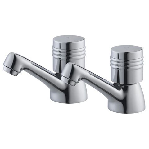 Plumbsure Opal Chrome Hot & Cold Basin Pillar Tap, Pack of 2