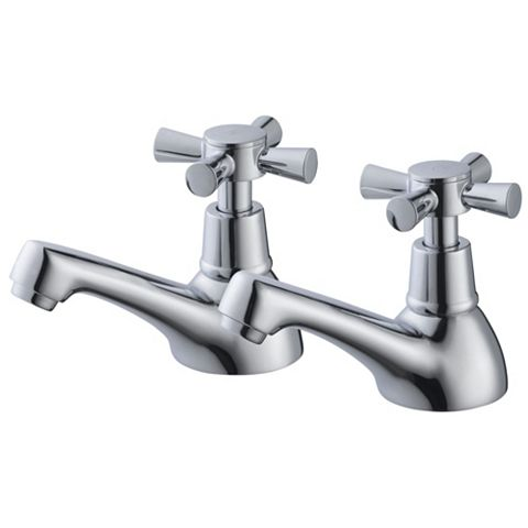 Plumbsure Crystal Chrome Hot & Cold Bath Pillar Tap, Pack of 2