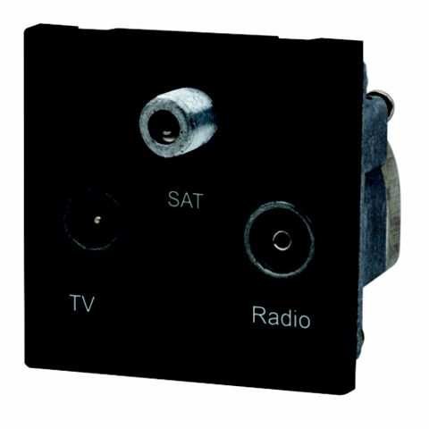 Lap Black Triplex Satellite, TV & Radio Connection Module