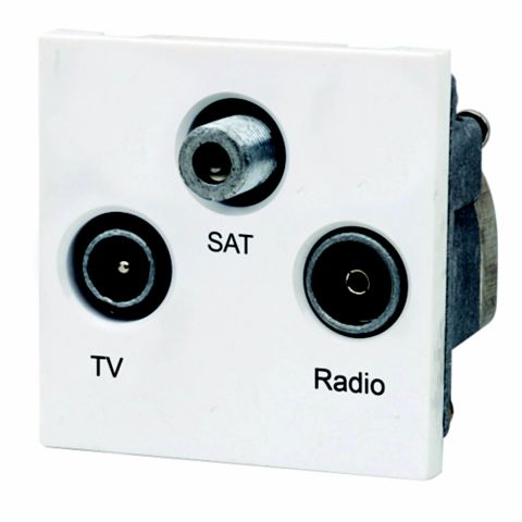 Lap White Triplex Satellite, TV & Radio Connection Module