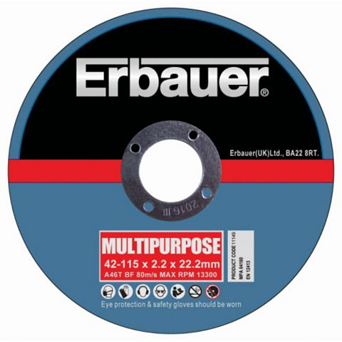 Erbauer (Dia)115mm Cutting Discs, Pack of 5