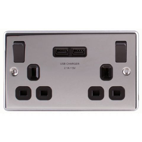 Lap 13A 2-Gang Polished Chrome Effect Switched Socket with USB