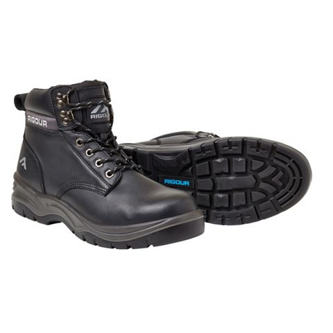 Rigour Black Full Grain Leather Steel Toe Cap Safety Work Boots, Size 7