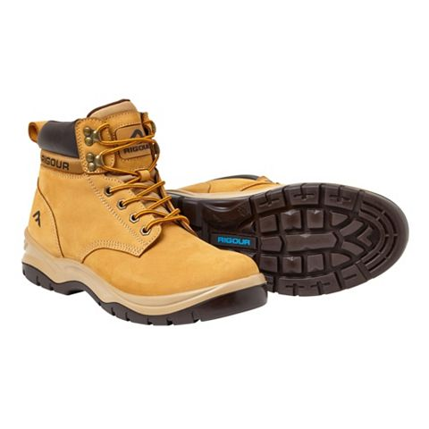 Rigour Wheat Full Grain Leather Steel Toe Cap Safety Work Boots, Size 11