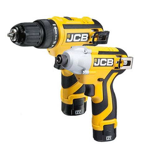 JCB 12V Li-Ion Combi Drill & Impact Driver Twin Pack Batteries Included CKT120J2