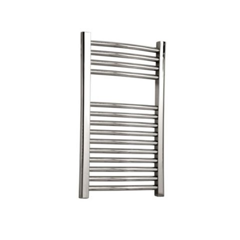 Flomasta Curved Towel Radiator Silver Chrome (H)700 (W)600mm