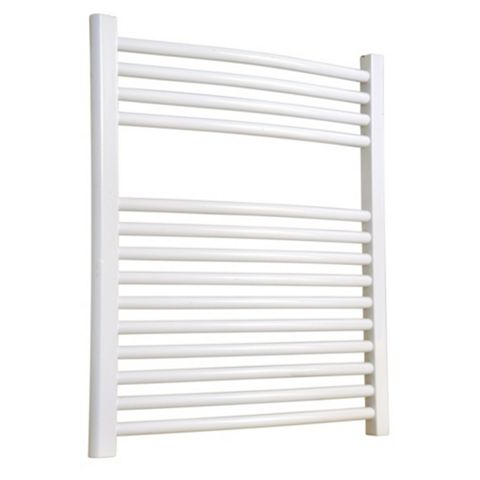 Flomasta Curved Towel Radiator White Powder Coated (H)700 (W)600mm