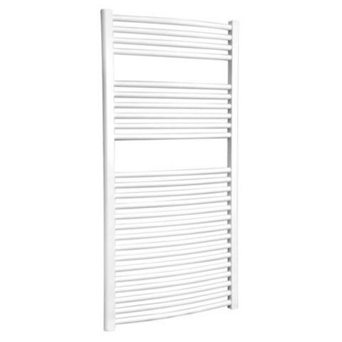 Flomasta Curved Towel Radiator White Powder Coated (H)1200 (W)600mm