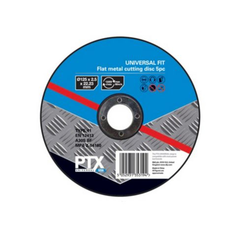 PTX (Dia)125mm Flat Metal Cutting Disc, Pack of 5