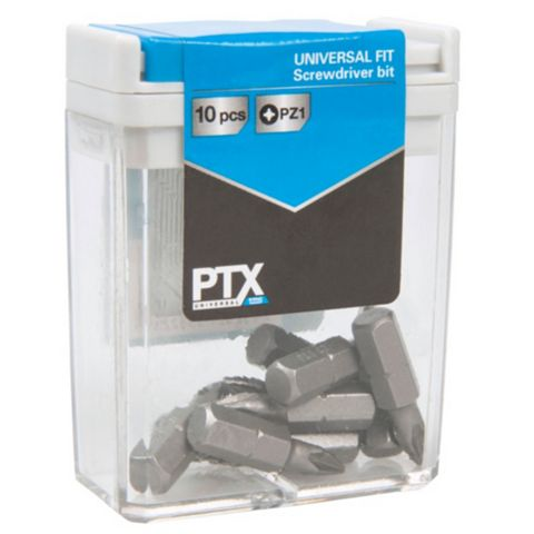 PTX PZ1 Standard Screwdriver Bit Set 25mm, Pack of 10