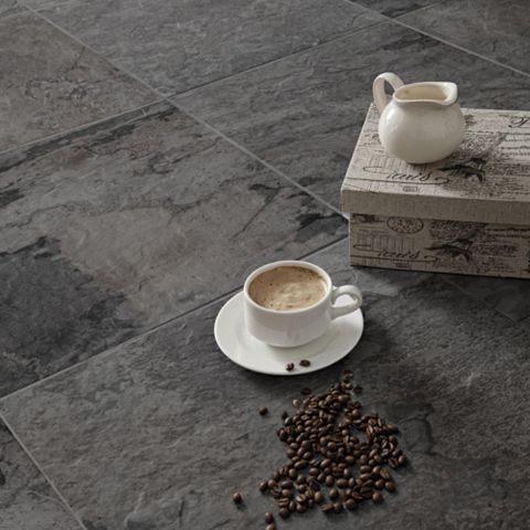Wave Anthracite Porcelain Floor Tile, Pack of 5, (L)450mm (W)450mm