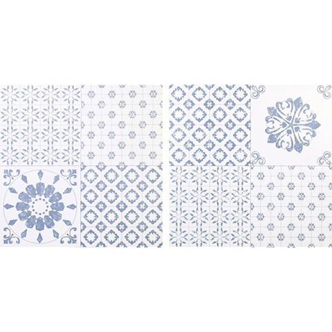 Colours Blue & White Patchwork Effect Self Adhesive Vinyl Tile Pack 1.02m²