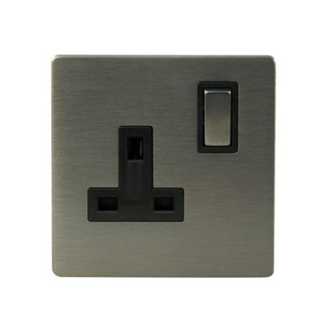 Lap 13A 1-Gang Grey Brushed Slate Effect Switched Socket
